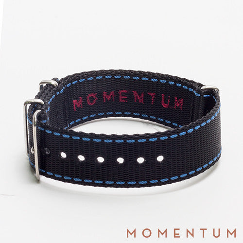Nato Strap Black & Royal Blue Stitch Finish - Momentum Dubai