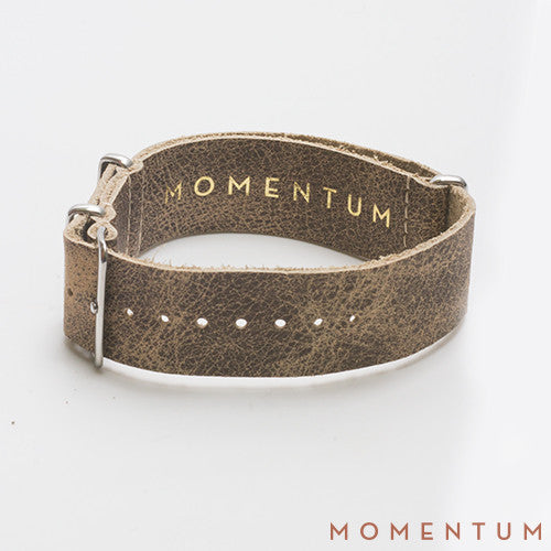 Leather Nato Strap Beige - Wax Finish - Momentum Dubai