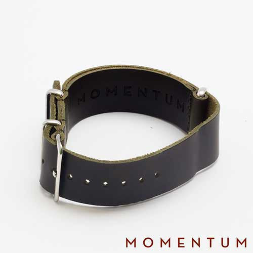 Leather Nato Strap Dark Green - Matt Finish - Momentum Dubai