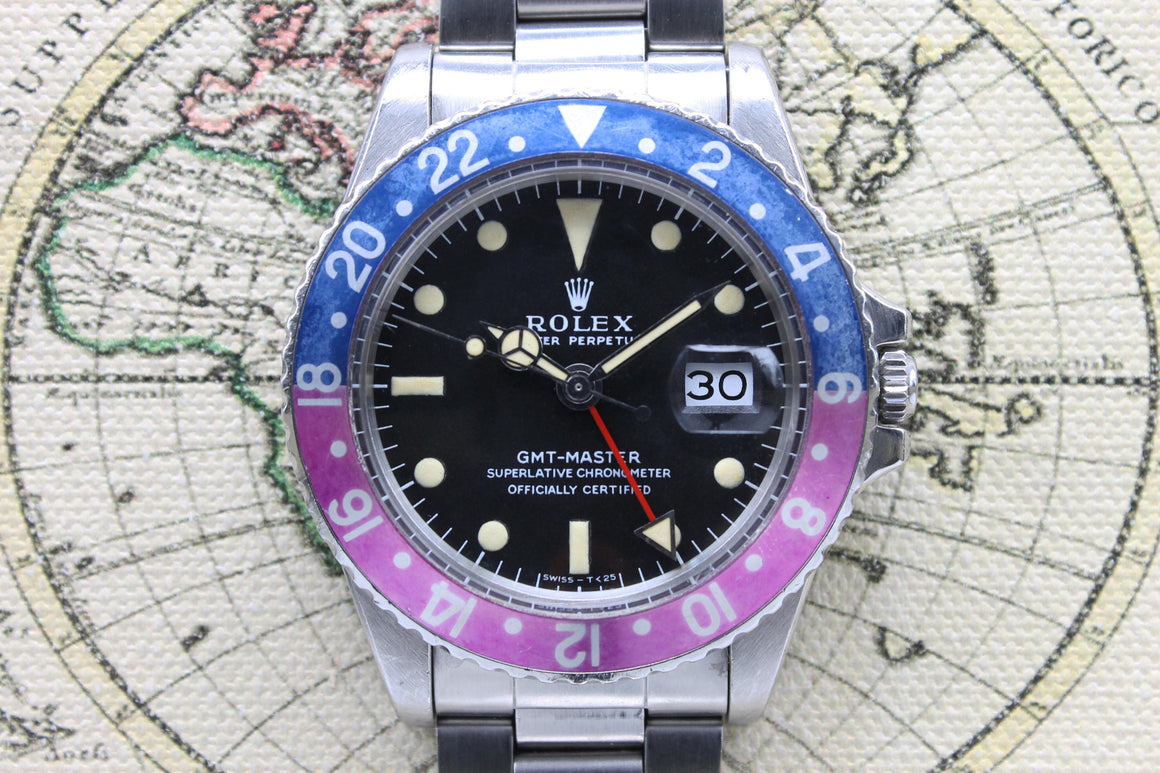 1968 Rolex GMT Master MK1 Fuchsia Ref. 1675 (with Box & Papers)