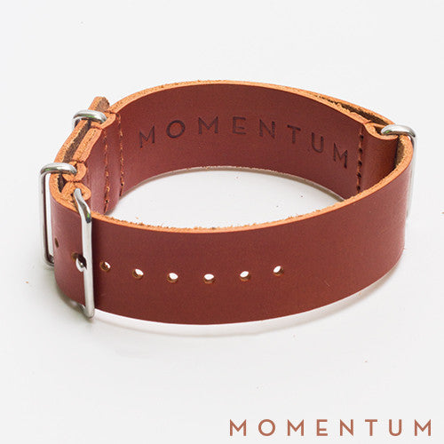 Leather Nato Strap Light Brown - Matt Finish - Momentum Dubai