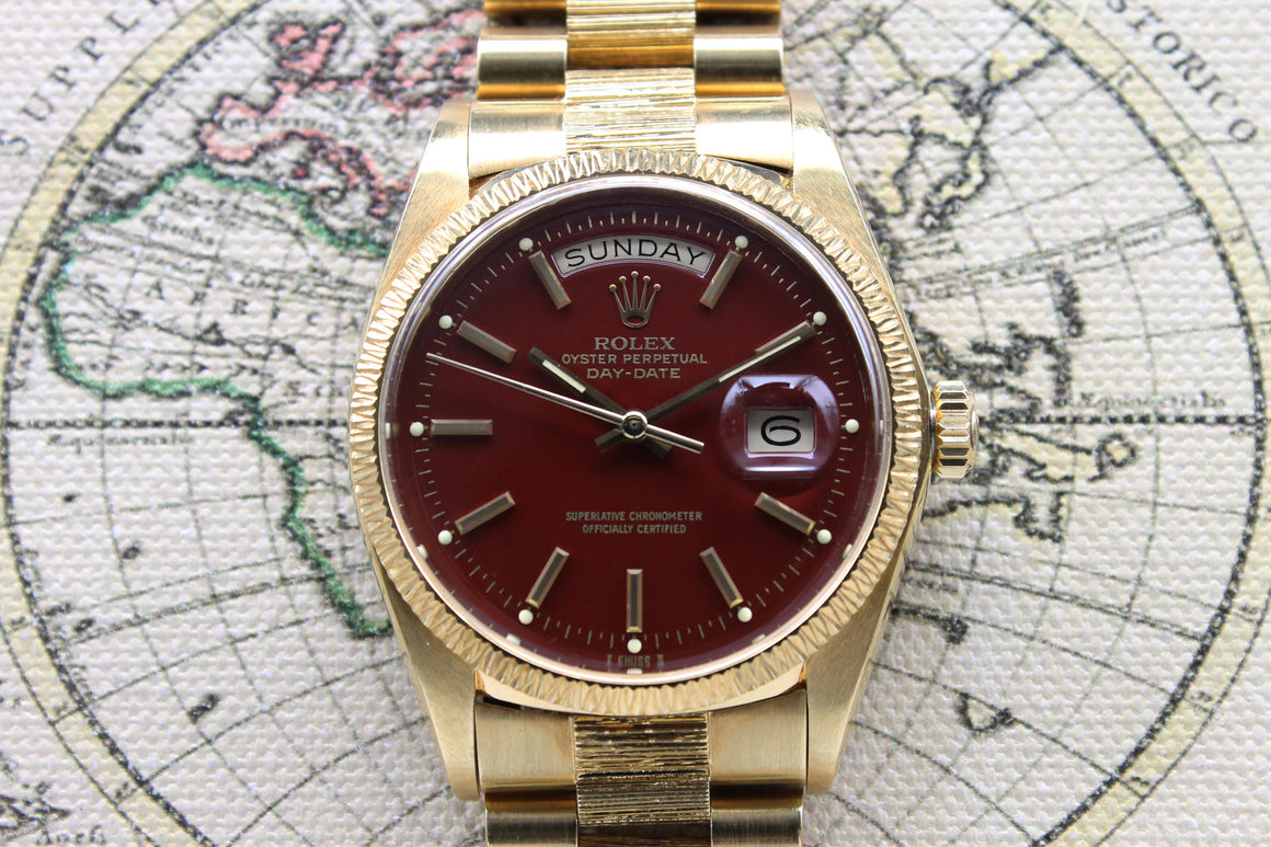 Rolex Day Date Stella Oxblood 'Bark' Ref. 1807 Year 1978 (Full Set)