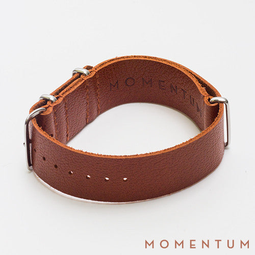 Leather Nato Strap Brown - Grained Finish - Momentum Dubai