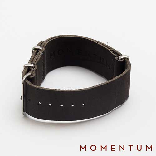 Leather Nato Strap Grey - Smooth Finish - Momentum Dubai