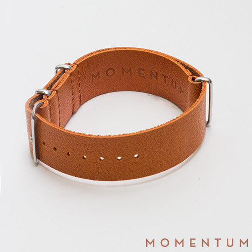 Leather Nato Strap Light Brown - Grained Finish - Momentum Dubai