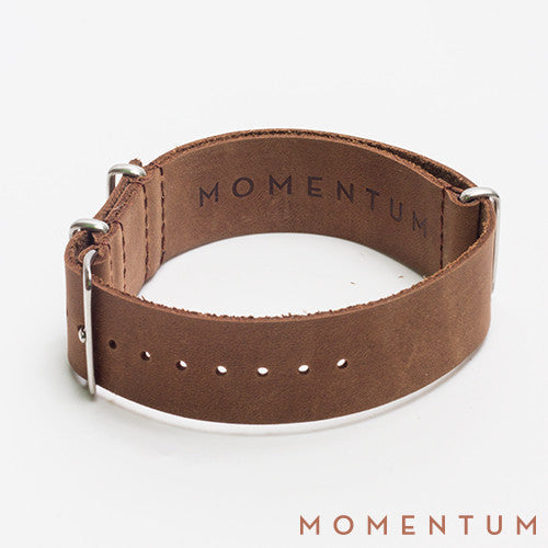 Leather Nato Strap Brown - Smooth Finish - Momentum Dubai