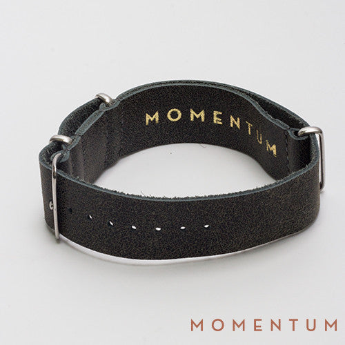 Leather Nato Strap Grey & Blue - Wax Finish - Momentum Dubai