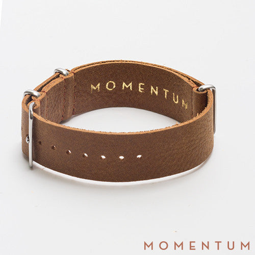 Leather Nato Strap Light Brown - Wax Finish - Momentum Dubai