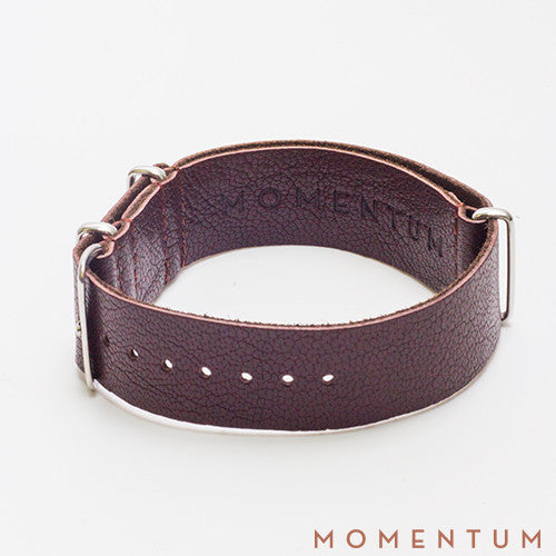 Leather Nato Strap Dark Brown - Grained Finish - Momentum Dubai