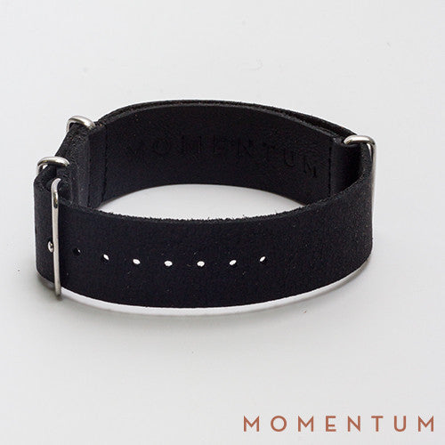 Leather Nato Strap Black - Wax Finish - Momentum Dubai