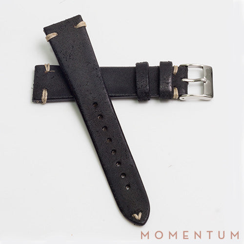 Vintage Strap - Distressed Black - Horse Leather - Momentum Dubai