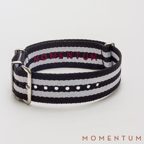 Nato Strap Black & White Double Striped - Momentum Dubai