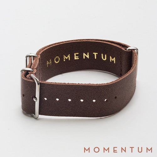 Leather Nato Strap Brown - Wax Finish - Momentum Dubai