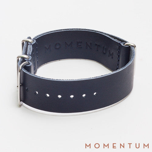 Leather Nato Strap Dark Blue - Matt Finish - Momentum Dubai