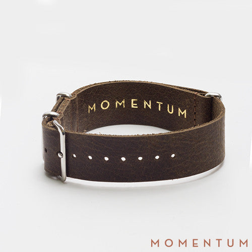 Leather Nato Strap Dark Brown - Wax Finish - Momentum Dubai