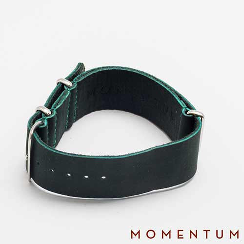 Leather Nato Strap Green - Smooth Finish - Momentum Dubai