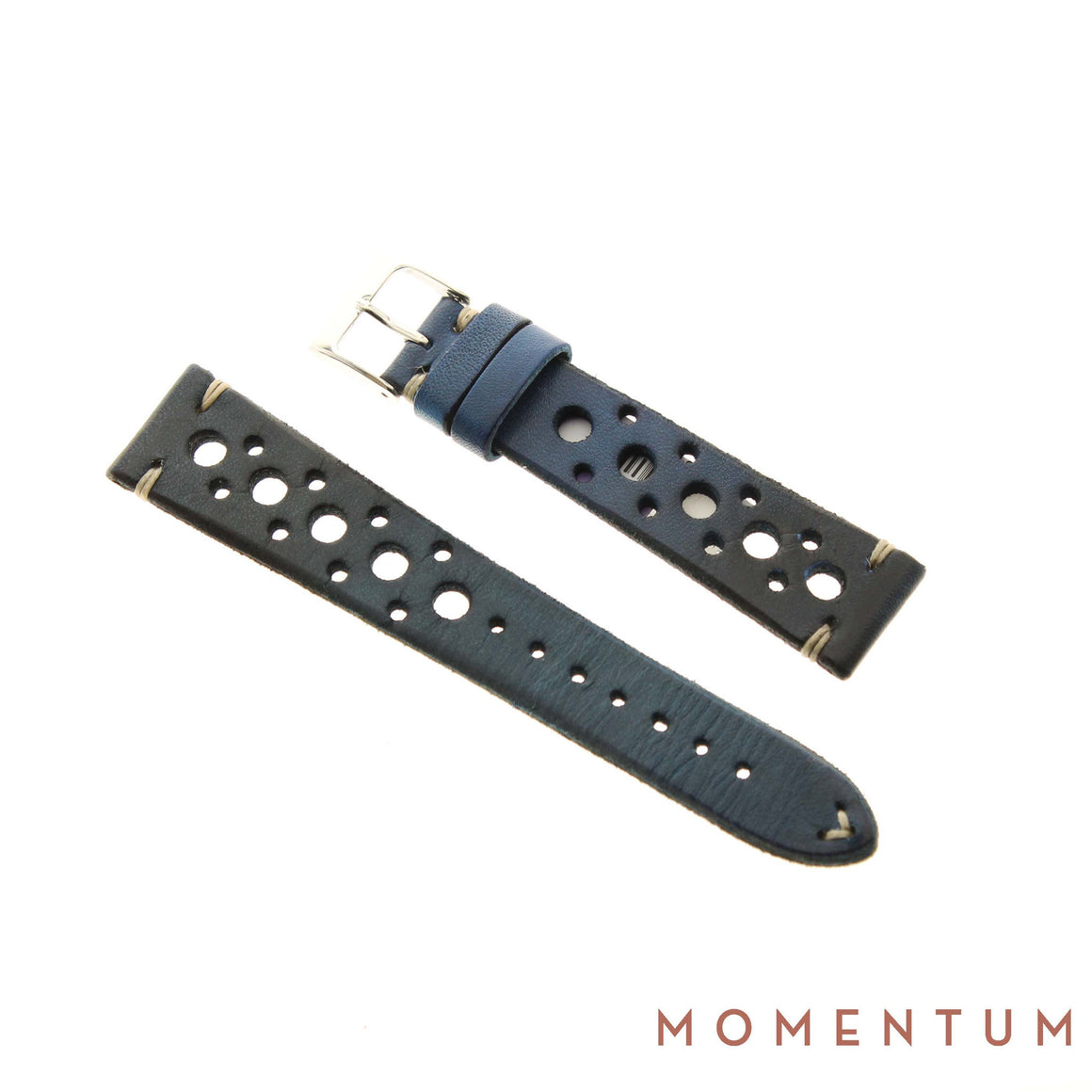 Vintage Strap - Blue Berluti style with holes - Calf Leather - Momentum Dubai