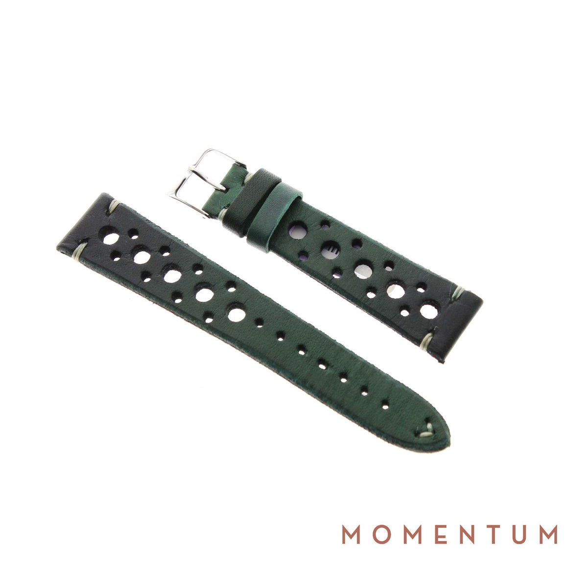 Vintage Strap - Dark Green Berluti style with holes - Calf Leather - Momentum Dubai