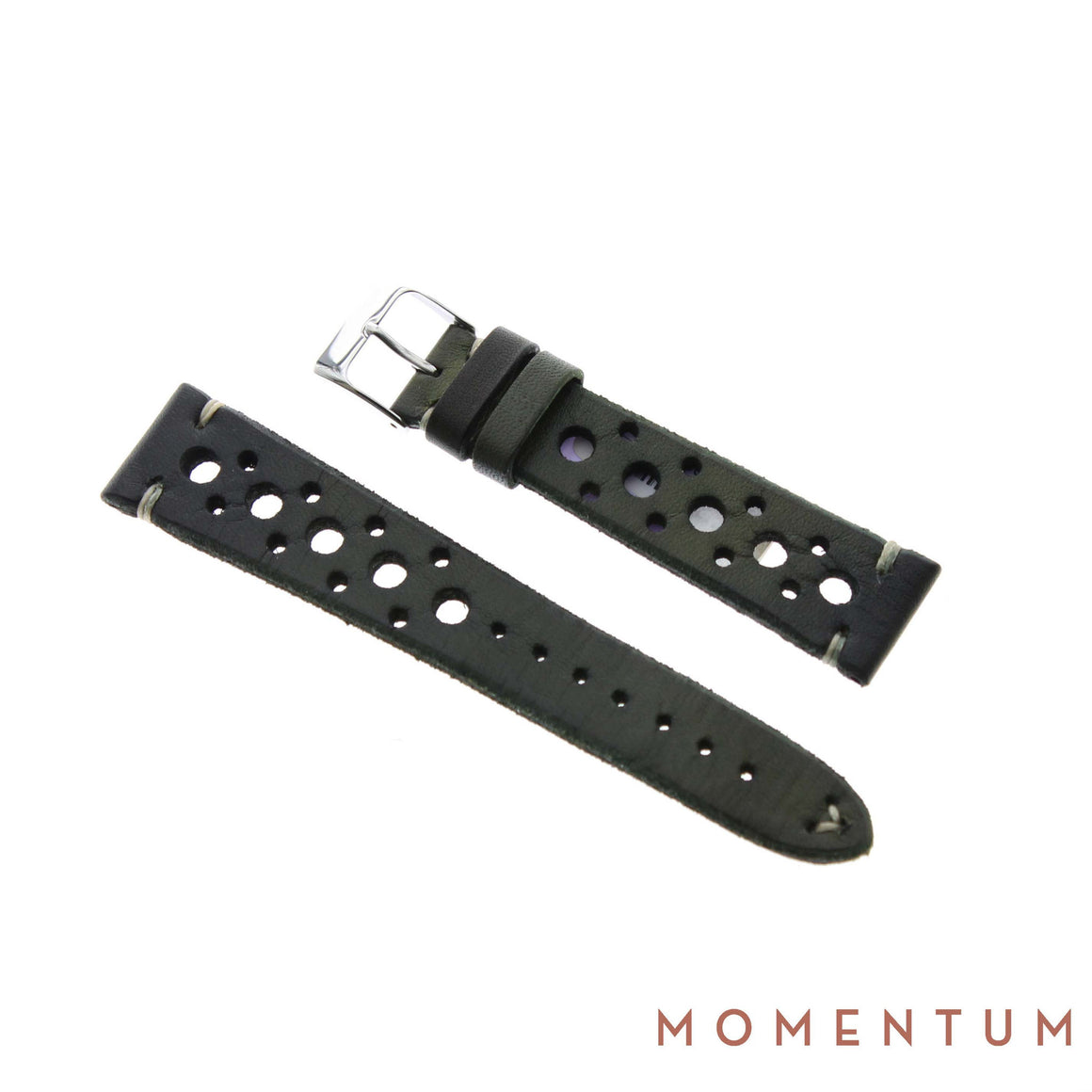 Vintage Strap - Olive Green Berluti style with holes - Calf Leather - Momentum Dubai