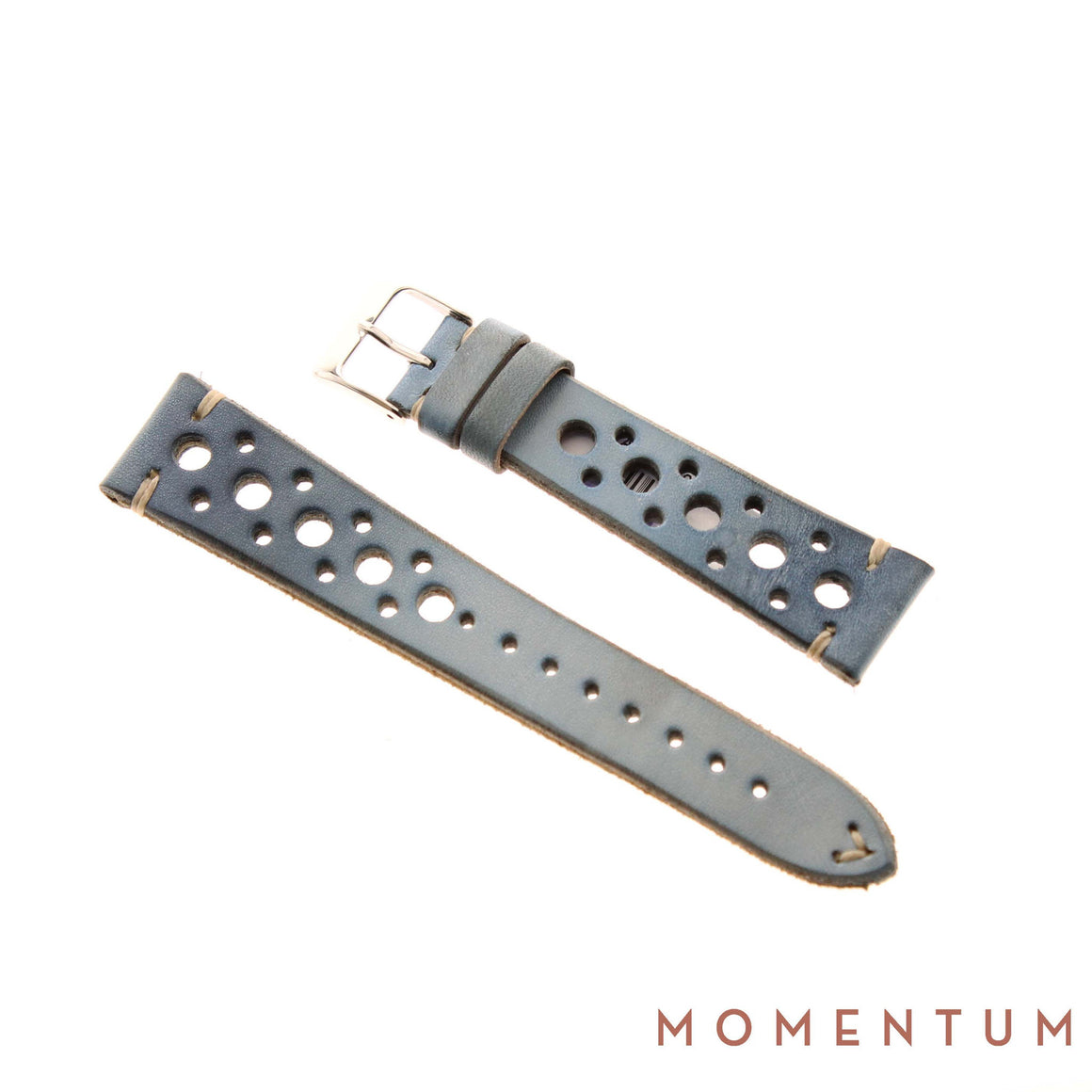 Vintage Strap - Baby Blue Berluti style with holes - Calf Leather - Momentum Dubai