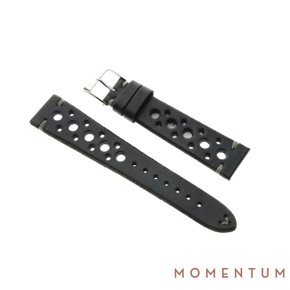 Vintage Strap - Black Berluti style with holes - Calf Leather - Momentum Dubai