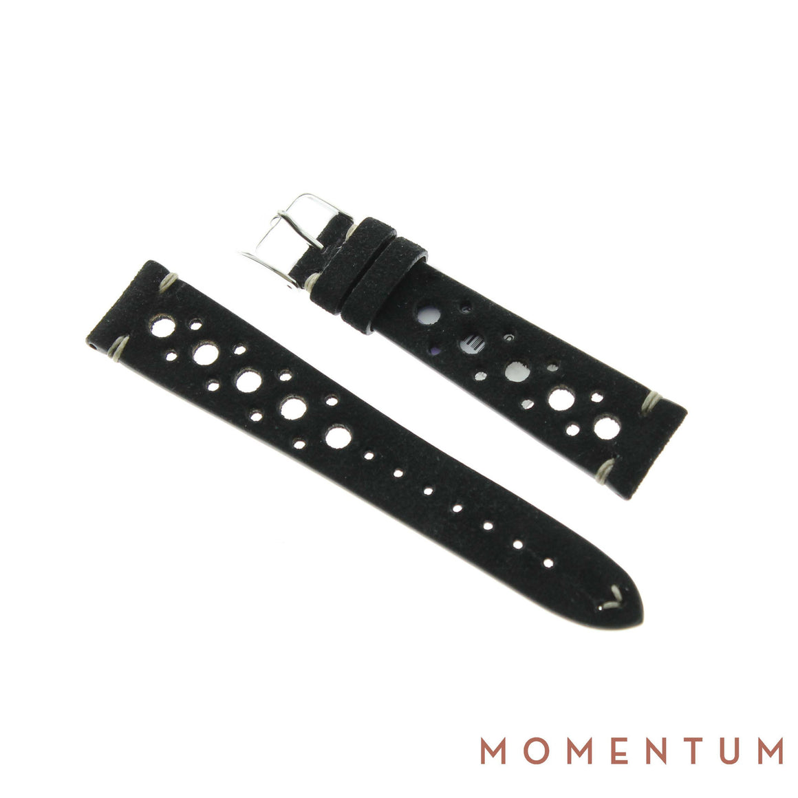 Vintage Strap - Black Suede with holes - Calf Leather - Momentum Dubai