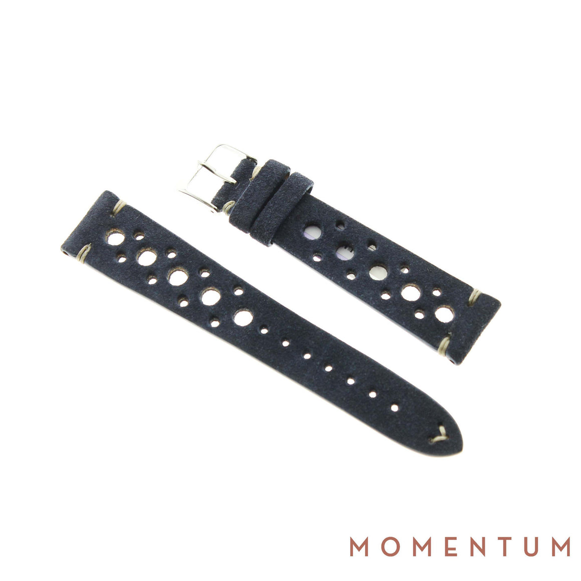 Vintage Strap - Dark Blue Suede with holes - Calf Leather - Momentum Dubai