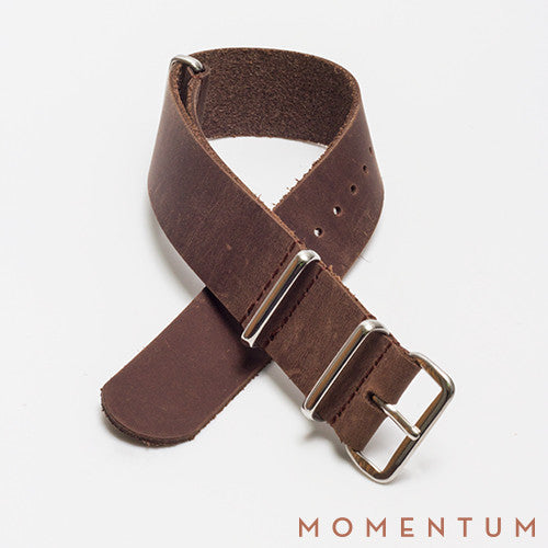 Leather Nato Strap Dark Brown - Smooth Finish - Momentum Dubai