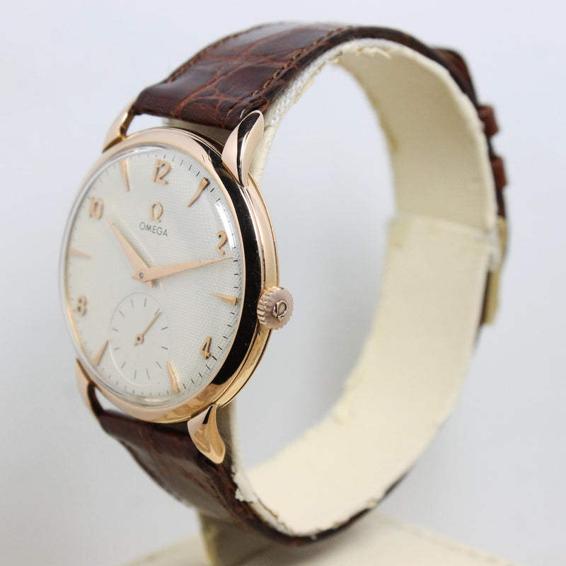 1956 Omega Dress Watch Pink Gold Honeycomb Dial Ref. 2685
