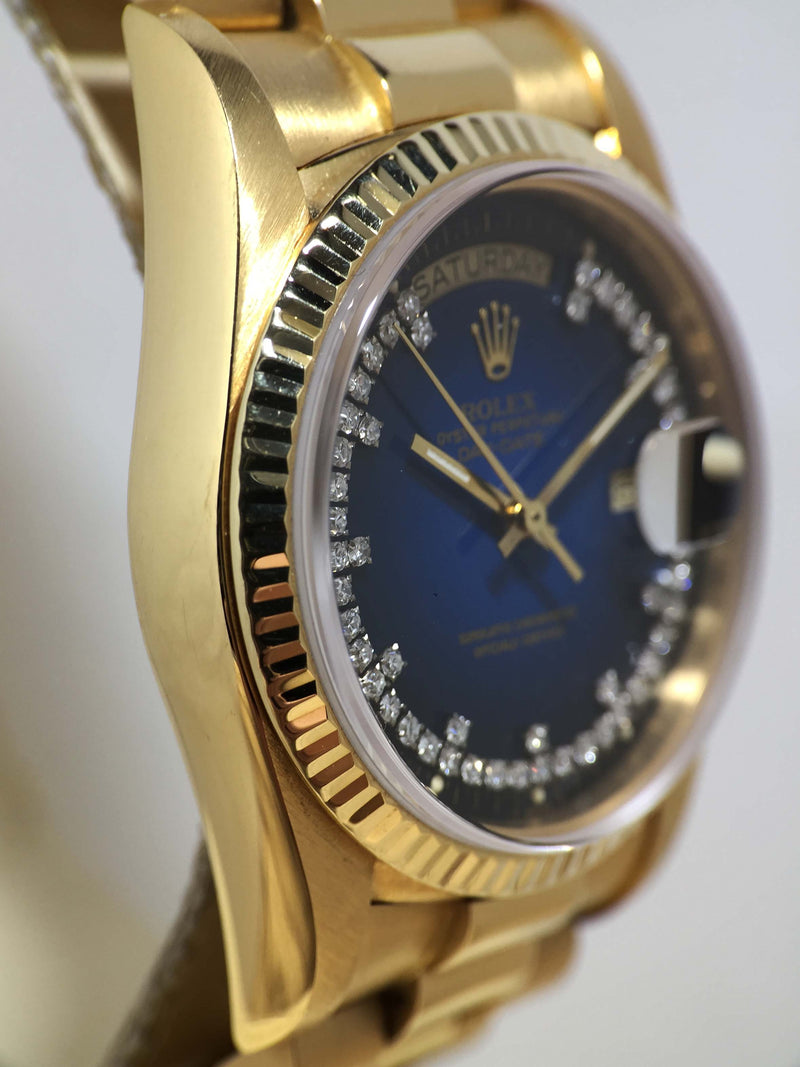 1984 Rolex Day Date Blue Vignette Diamond String Dial Ref. 18038