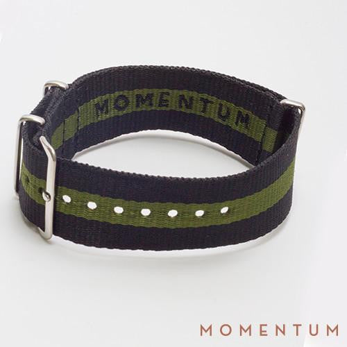 Nato Strap Black & Green Single Striped - Momentum Dubai