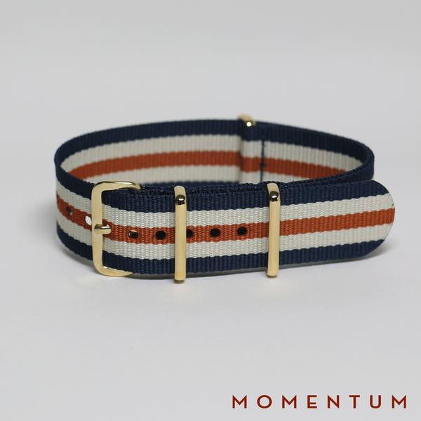 Nato Strap Blue - Beige & Brown Striped - Momentum Dubai