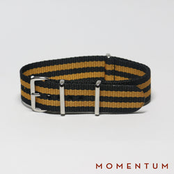 Nato Strap Black & Orange Double Striped - Momentum Dubai