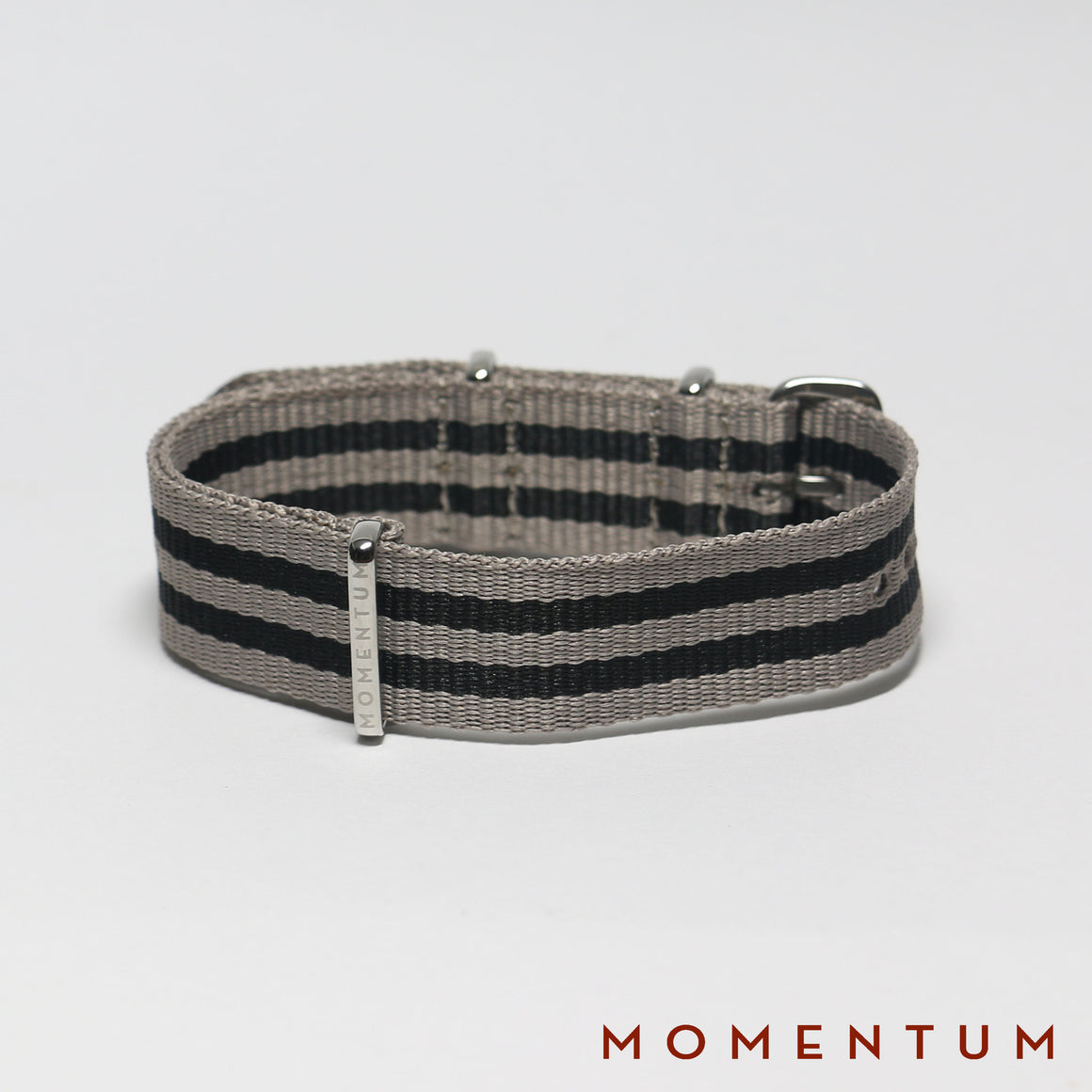 Nato Strap Grey & Black Double Striped - Momentum Dubai