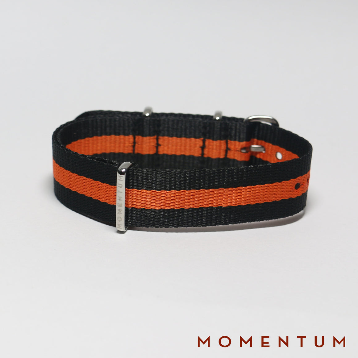 Nato Strap Black & Orange Single Striped - Momentum Dubai