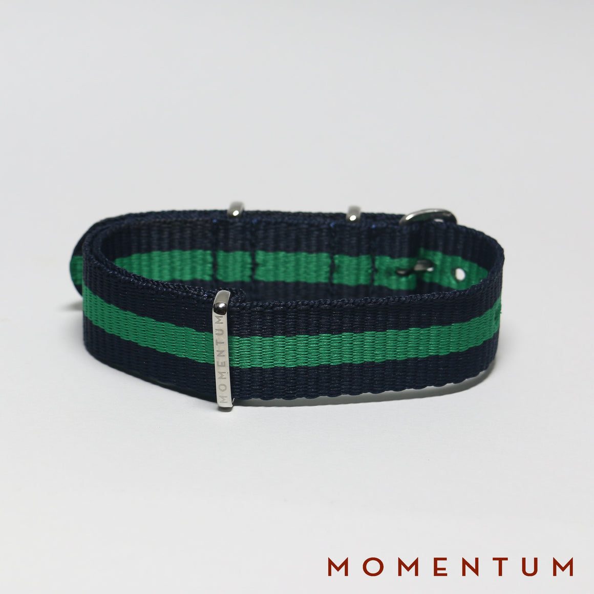 Nato Strap Navy Blue & Green Striped - Momentum Dubai