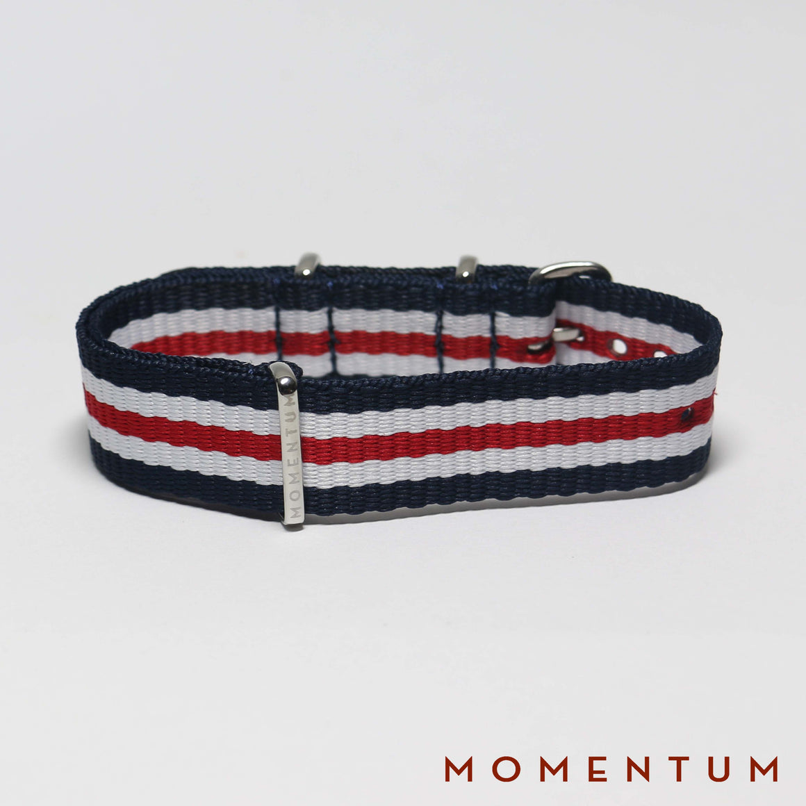 Nato Strap Blue - White & Red Striped - Momentum Dubai