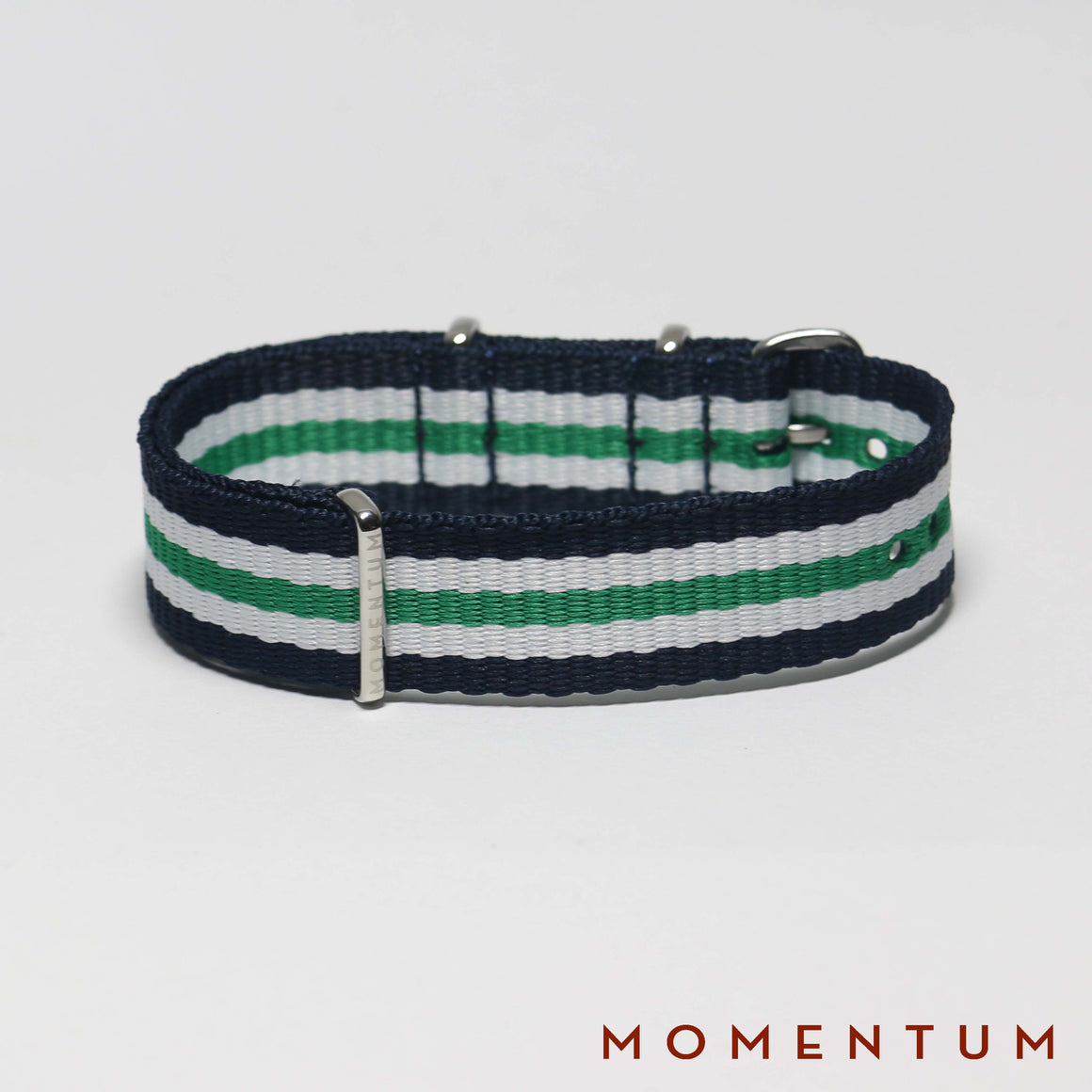 Nato Strap Blue - White & Green Striped - Momentum Dubai