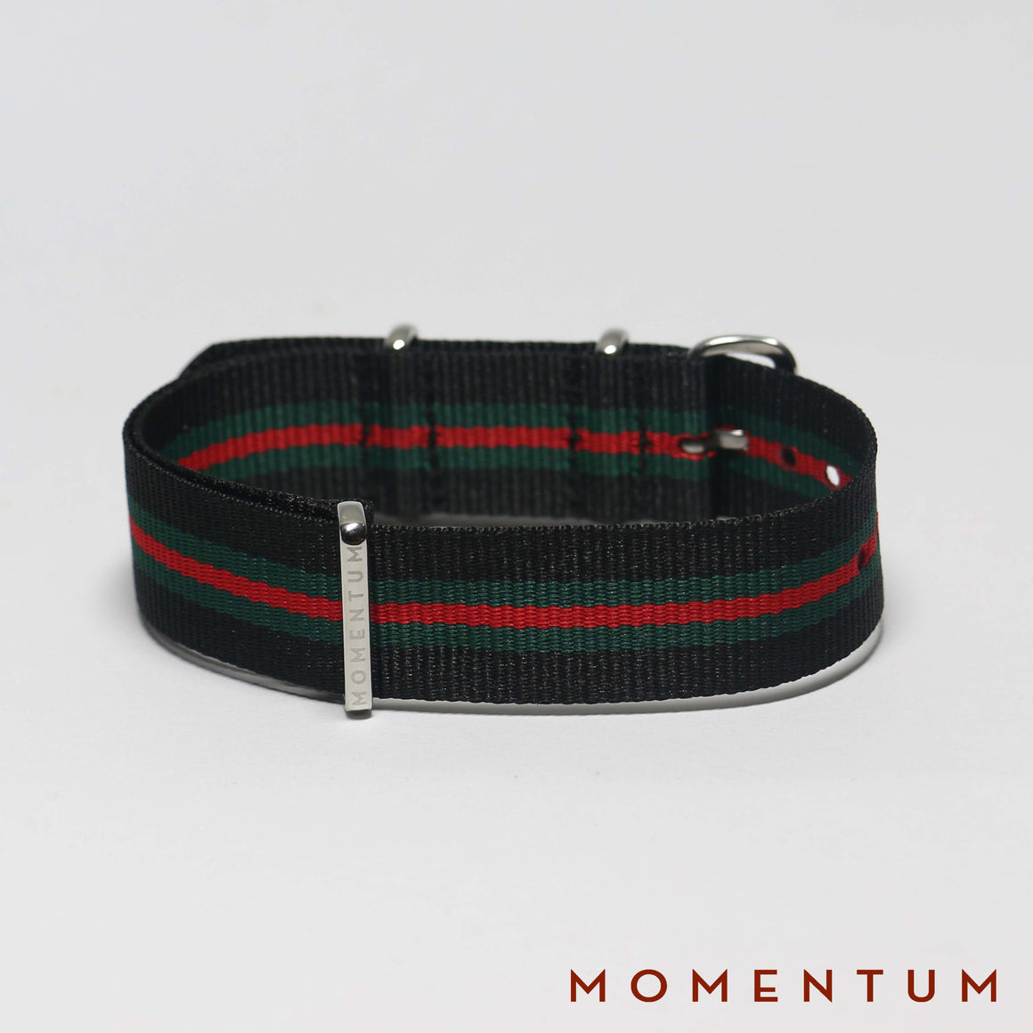 Nato Strap Black - Green & Red Striped - Momentum Dubai
