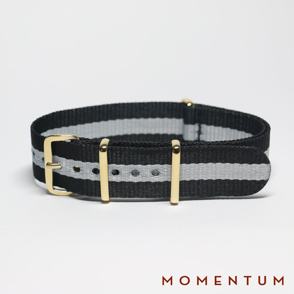 Nato Strap Black & Light Grey Single Striped - Momentum Dubai