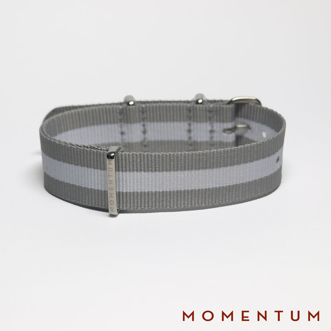 Nato Strap Grey & White Striped - Momentum Dubai