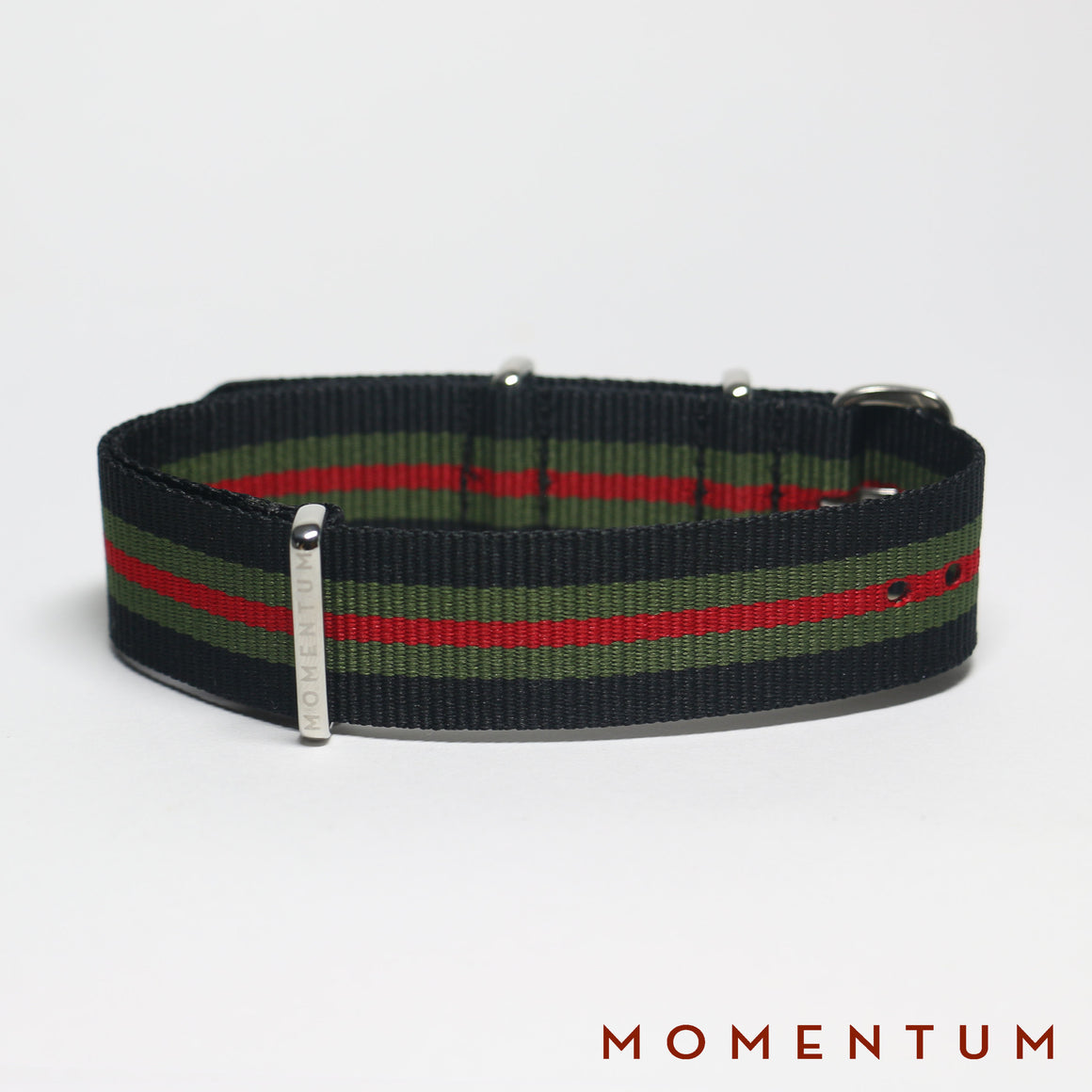 Nato Strap Black - Army Green & Red Striped - Momentum Dubai