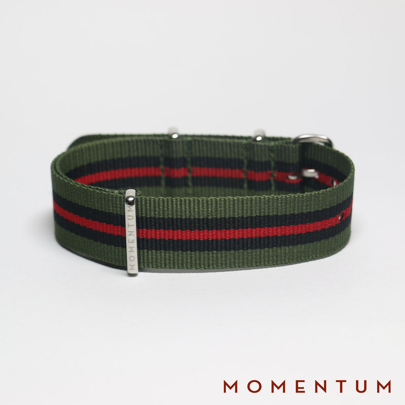Nato Strap Army Green - Black & Red Striped - Momentum Dubai