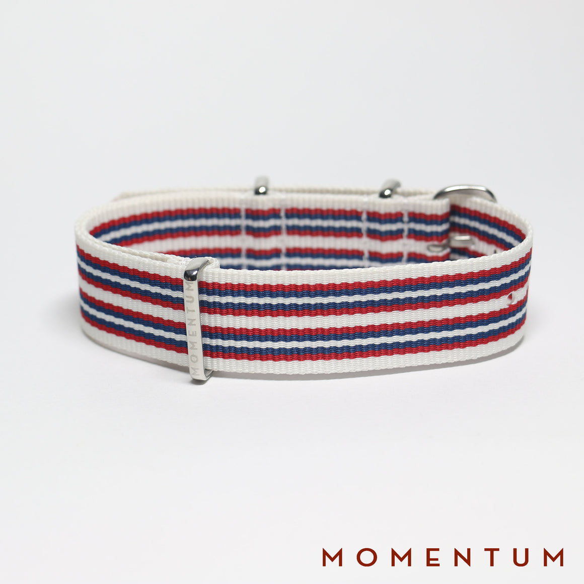 Nato Strap White - Red & Blue Striped - Momentum Dubai