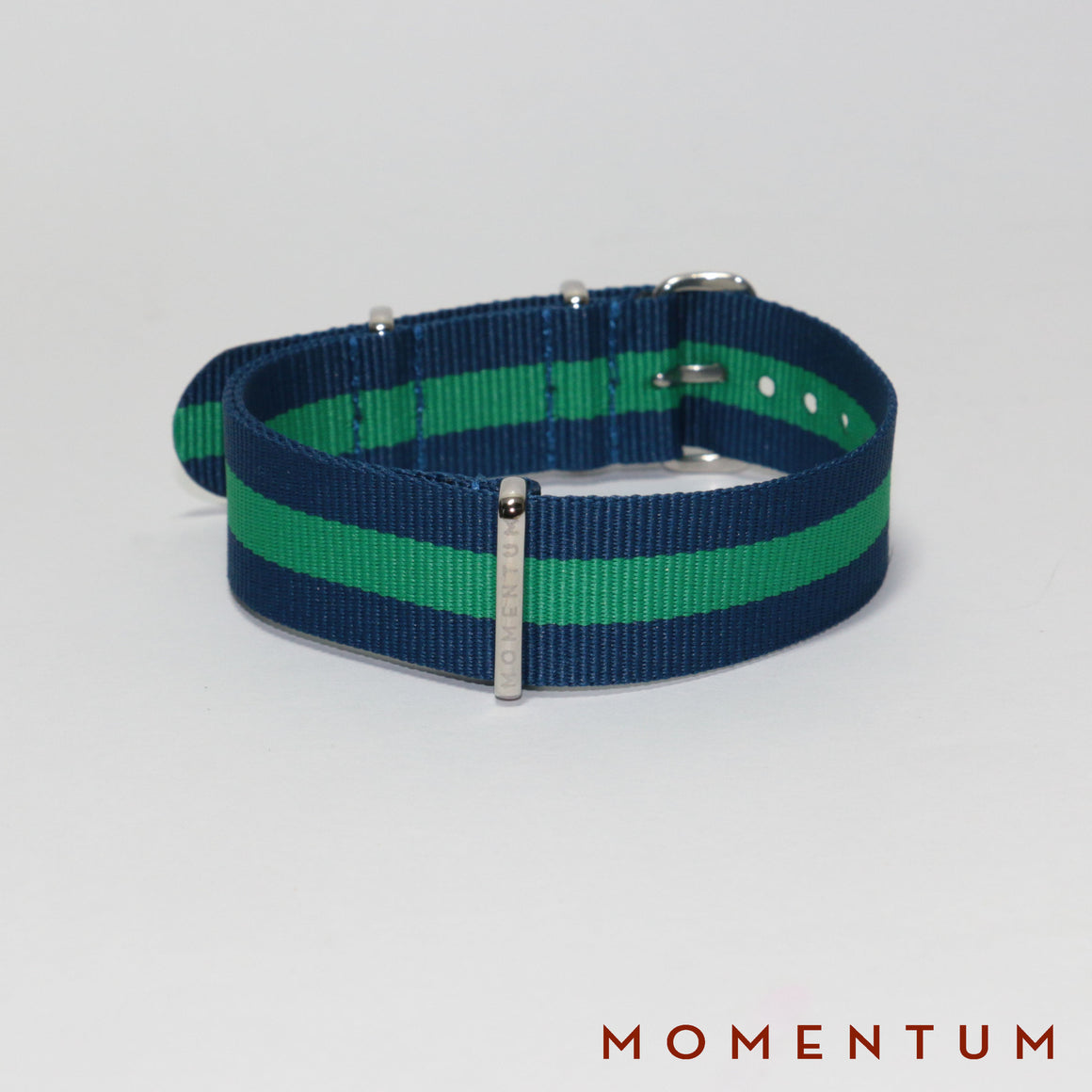 Nato Strap Blue & Green Striped - Momentum Dubai