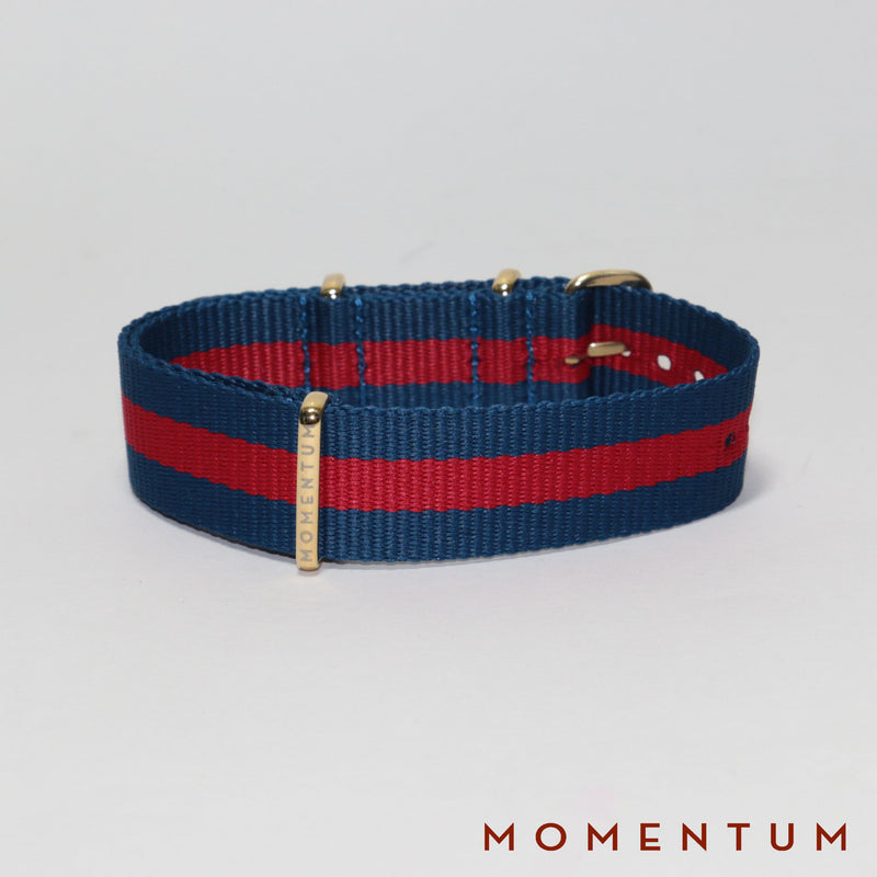 Nato Strap Dark Blue & Red Striped - Momentum Dubai