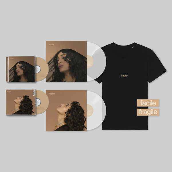 PACK CD + VINYLE + T-SHIRT NOIR / TEXTE BEIGE + STICKERS