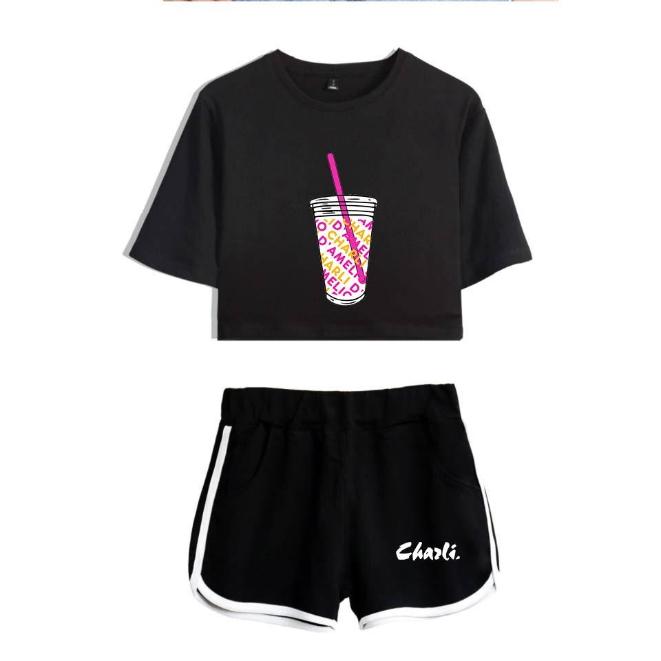 Charli D'Amelio T Shirts Beach Shorts Set - 2