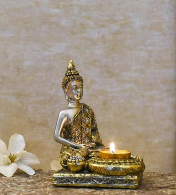 Serene Buddha T-light & Incense Holder