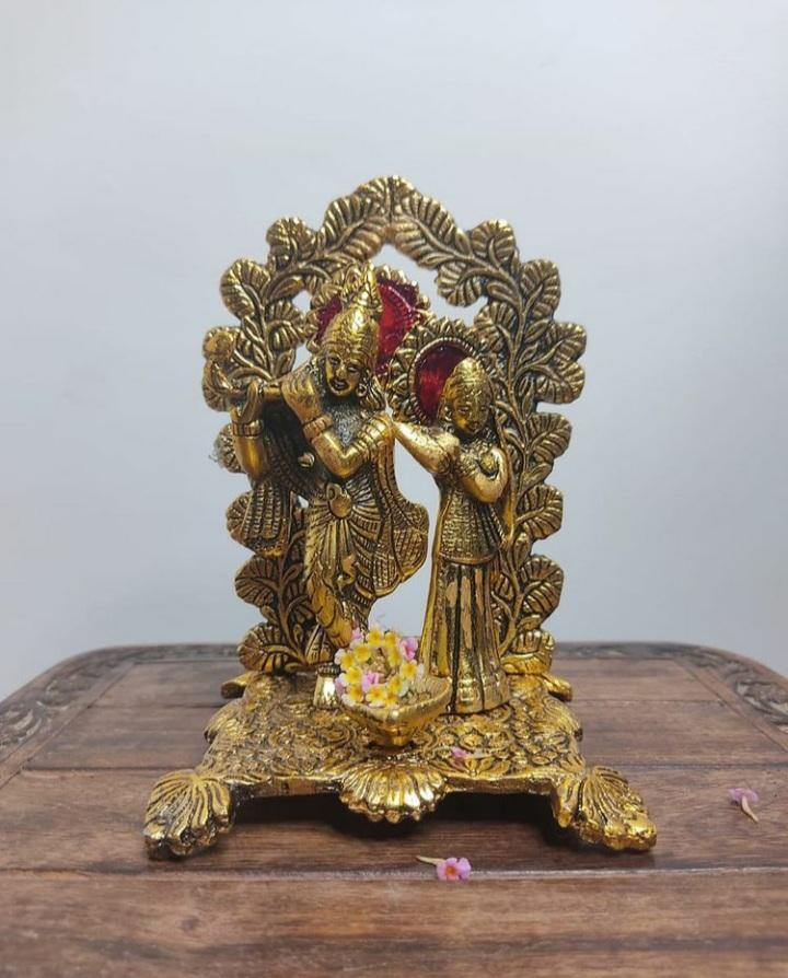 Gold-Toned Metal Radha Krishna Statue Showpiece - Craftemporio